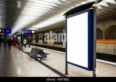 Blank Advertisement Template Subway Underground Bench Munich City Urban Public Transport Germany Europe Light Indoors Rectangular Large