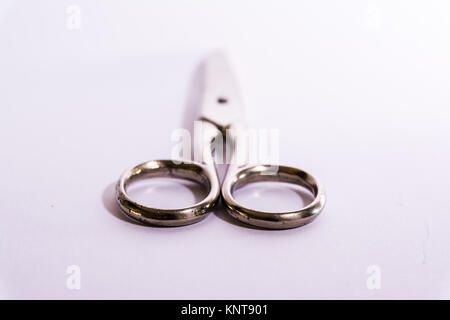 Shiny Metal Scissors Medical Construction Blank White Background Object - Stock Photo