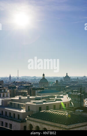 Milanese Milan Italy Landscape Buildings Residential City Center View from Duomo Cathedral Sun Blue Skies Winter - Stock Photo