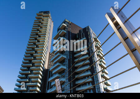 Modern Milan Italy Apartment Building Skyscrapers Bridge View Exterior Contemporary Minimal Design Outdoors Blue - Stock Photo