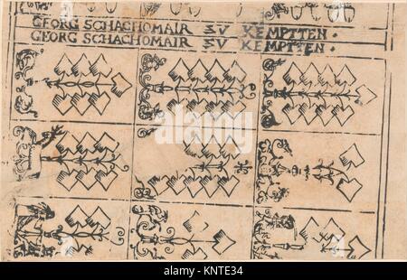 Sheet of Playing Cards. Artist: Georg Schachomair (German, 16th century); Date: 1575-1600; Medium: Woodcut; Dimensions: - Stock Photo