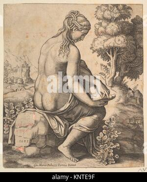 Venus removing a thorn from her foot. Artist: Master of the Die (Italian, active Rome, ca. 1530-60); Publisher: - Stock Photo