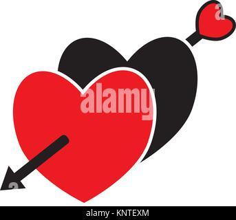 Two hearts crossed with an arrow shot by cupid. Concept for love, passion, valentine, Valentines day isolated on - Stock Photo