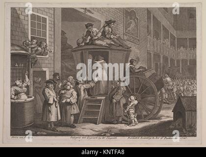 The Stage Coach, or Country Inn Yard. Artist: William Hogarth (British, London 1697-1764 London); Date: June 1747; - Stock Photo