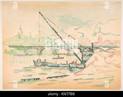 Le Pont des Arts. Artist: Paul Signac (French, Paris 1863-1935 Paris); Date: n.d; Medium: Watercolor over black - Stock Photo