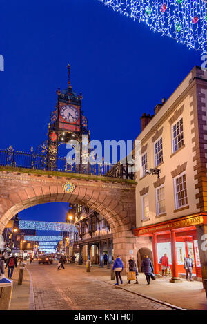 Eastgate clock on the roman wall Chester with christams decorations. - Stock Photo