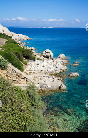 Idyllic coast landscape at Capo Testa, Santa Teresa di Gallura, Sardinia, Italy, Mediterranean sea, Europe - Stock Photo