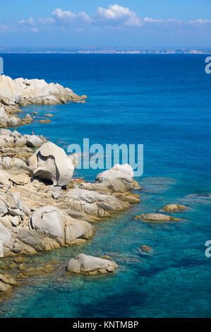 Idyllic rocky coast with granite boulders at Capo Testa, Santa Teresa di Gallura, Sardinia, Italy, Mediterranean - Stock Photo
