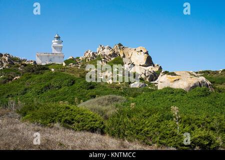 Lighthouse of Capo Testa, Santa Teresa di Gallura, Sardinia, Italy, Mediterranean sea, Europe - Stock Photo