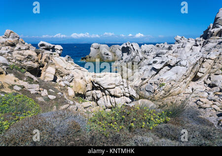 Coastal landscape, granite boulders at Capo Testa, Santa Teresa di Gallura, Sardinia, Italy, Mediterranean sea, - Stock Photo