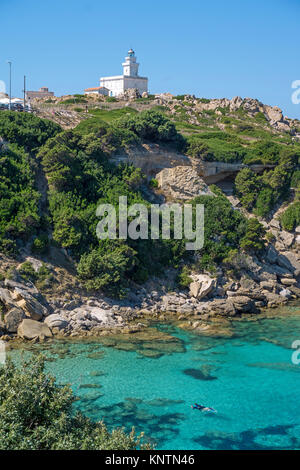 Lighthouse of Capo Testa, Santa Teresa di Gallura, Sardinia, Italy, Mediterranean sea, Europe - Stock Photo