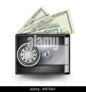 Leather Wallet Vector. Locked With Combination Lock. Modern Finance Secure Concept. Isolated Illustration - Stock Photo