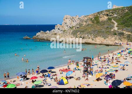 Beachlife at Rena Bianca beach, Santa Teresa di Gallura, Sardinia, Italy, Mediterranean sea, Europe - Stock Photo