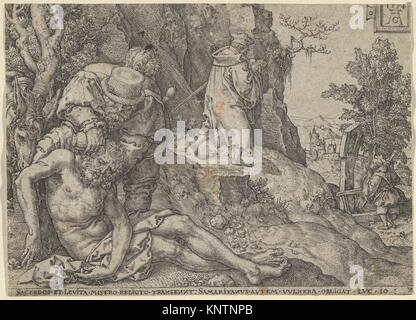 The Good Samaritan Tending the Traveller's Wounds with Oil and Wine or The Priest and the Levite Passing, from The - Stock Photo