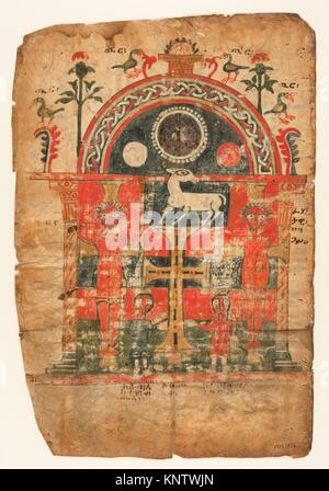 Double-Sided Gospel Leaf. Date: first half 14th century; Geography: Made in Tigray, Ethiopia; Culture: Ethiopian; - Stock Photo