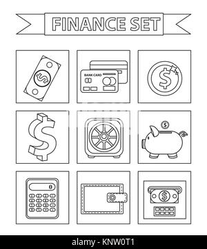 Money and Finance icons set, line style. Collection isolated on white background. Bank objects and items for Web - Stock Photo