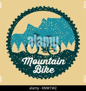 mountain bike grunge badge fun sport - Stock Photo