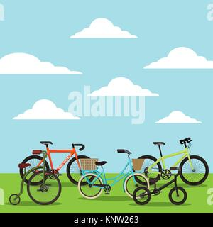 set of the different bicycles in the landscape - Stock Photo