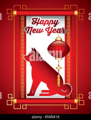 chinese happy new year of the dog lantern traditional card - Stock Photo