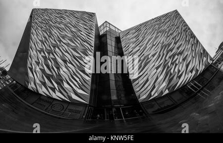 Close Up Panorama Titanic Museum Black White Architecture - Stock Photo