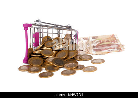 Stack of Turkish Lira banknotes and coins in shopping cart with money consuming and finance concept, isolated on - Stock Photo