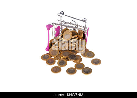 Stack of Turkish Lira coins in shopping cart with money consuming and finance concept, isolated on white background. - Stock Photo