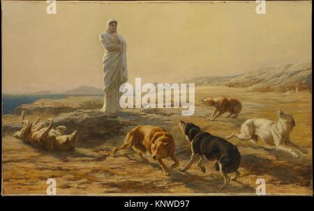 Pallas Athena and the Herdsman's Dogs. Artist: Briton Riviere (British, London 1840-1920 London); Date: 1876; Medium: - Stock Photo