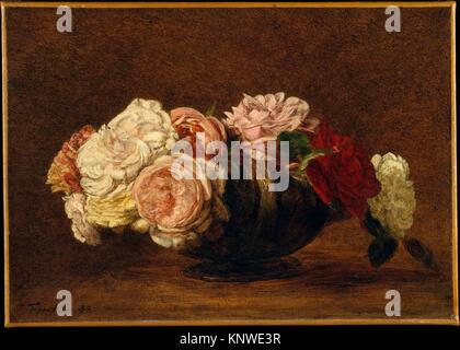 Roses in a Bowl. Artist: Henri Fantin-Latour (French, Grenoble 1836-1904 Buré); Date: 1883; Medium: Oil on canvas; - Stock Photo