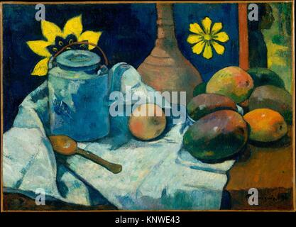 Still Life with Teapot and Fruit. Artist: Paul Gauguin (French, Paris 1848-1903 Atuona, Hiva Oa, Marquesas Islands); - Stock Photo