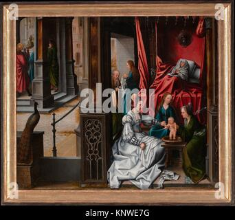 The Birth and Naming of Saint John the Baptist; (reverse) Trompe-l´oeil with Painting of The Man of Sorrows. Artist: - Stock Photo