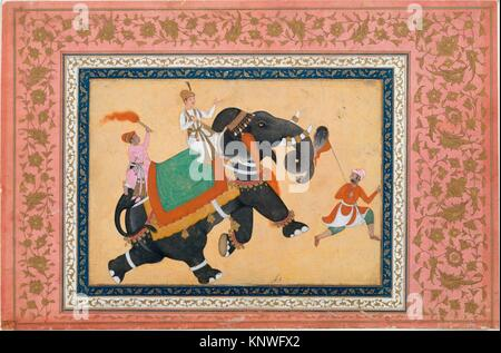 Prince Riding an Elephant. Artist: Painting by Khem Karan; Object Name: Illustrated album leaf; Date: 16th-17th - Stock Photo