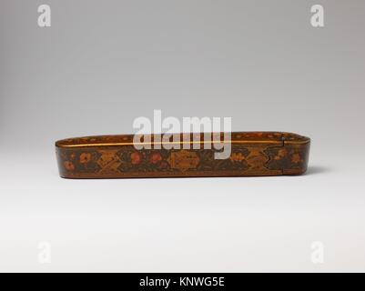 Pen Box with Architectural Cartouches. Artist: ´Ali Ashraf; Object Name: Pen box; Date: dated A.H. 1156/ A.D. 1743; - Stock Photo