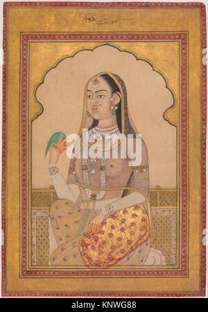A Bejewelled Maiden with a Parakeet. Object Name: Illustrated single work; Date: ca. 1670-1700; Geography: Country - Stock Photo