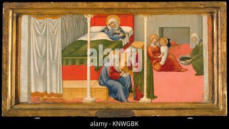 The Birth and Naming of Saint John the Baptist. Artist: Sano di Pietro (Ansano di Pietro di Mencio) (Italian, Siena - Stock Photo