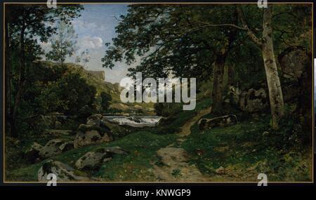 The Rocky Path in the Morvan (Chemin des roches dans le Morvan). Artist: Henri-Joseph Harpignies (French, Valenciennes - Stock Photo