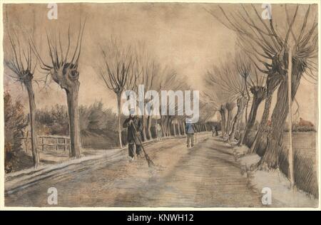 Road in Etten. Artist: Vincent van Gogh (Dutch, Zundert 1853-1890 Auvers-sur-Oise); Date: 1881; Medium: Chalk, pencil, - Stock Photo