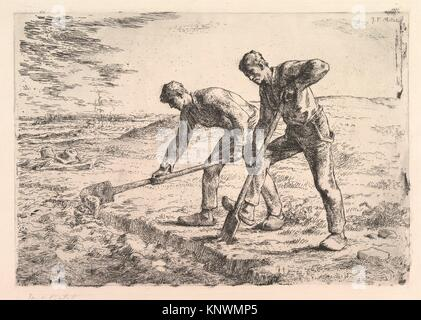 The Diggers. Artist: Jean-François Millet (French, Gruchy 1814-1875 Barbizon); Printer: Printed by Auguste Delâtre - Stock Photo