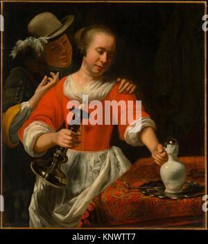 A Young Woman and a Cavalier. Artist: Cornelis Bisschop (Dutch, Dordrecht 1630-1674 Dordrecht); Date: early 1660s; - Stock Photo