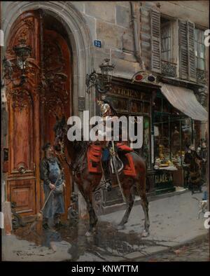 The Dispatch-Bearer. Artist: Giovanni Boldini (Italian, Ferrara 1842-1931 Paris); Date: ?1879; Medium: Oil on wood; - Stock Photo