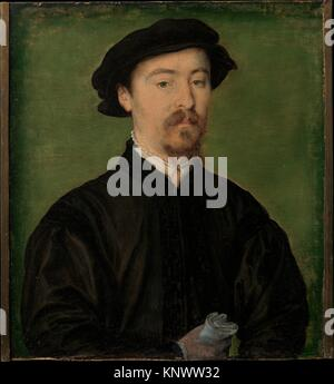 Portrait of a Man with Gloves. Artist: Attributed to Corneille de Lyon (Netherlandish, The Hague, active by 1533 - Stock Photo