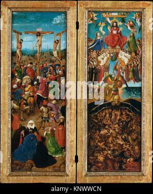 The Crucifixion; The Last Judgment. Artist: Jan van Eyck (Netherlandish, Maaseik ca. 1390-1441 Bruges) and Workshop - Stock Photo