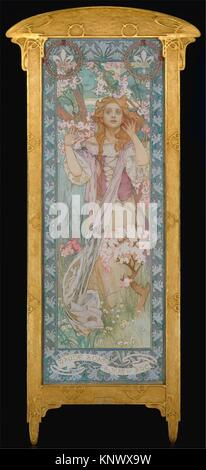 Maude Adams (1872-1953) as Joan of Arc. Artist: Alphonse Mucha (Czech, Ivančice 1860-1939 Prague); Date: 1909; - Stock Photo