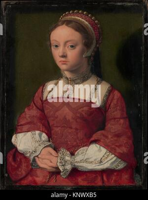 Portrait of a Young Woman. Artist: Netherlandish Painter (ca. 1535); Medium: Oil on wood; Dimensions: 10 1/2 x 8 - Stock Photo