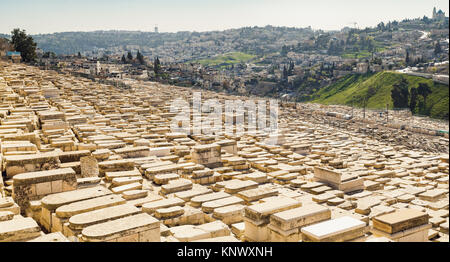 Mount of Olives and the old Jewish cemetery in Jerusalem, Israel - Stock Photo