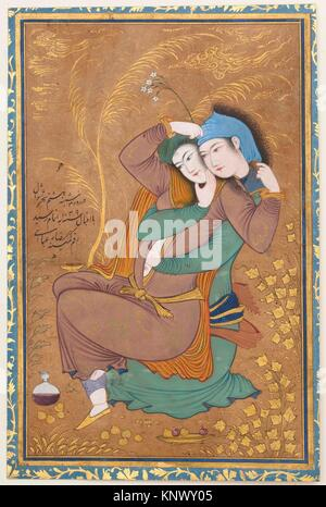 The Lovers. Artist: Painting by Riza-yi `Abbasi (Persian, ca. 1565-1635); Object Name: Illustrated single work; - Stock Photo