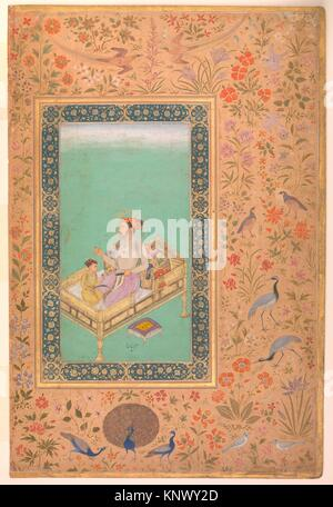 The Emperor Shah Jahan with his Son Dara Shikoh, Folio from the Shah Jahan Album. Artist: Painting by Nanha; Calligrapher: - Stock Photo