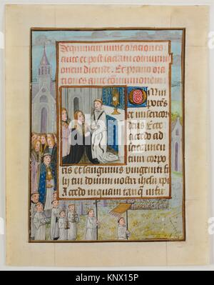 Manuscript Leaf with the Holy Communion, from a Book of Hours. Date: ca. 1500; Geography: Made in Ghent-Bruges, - Stock Photo