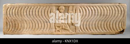 Sarcophagus with a Greek Physician. Date: early 300s; Geography: Made in Ostia, Rome; Culture: Roman; Medium: Marble; - Stock Photo
