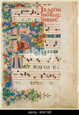 Manuscript Leaf with a Funeral Procession in an Initial R, from a Gradual. Artist: Mariano del Buono (Italian, 1433 - Stock Photo
