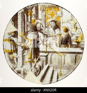 Roundel with Lazarus at the House of Dives. Date: ca. 1510-20; Culture: North Netherlandish; Medium: Colorless glass, - Stock Photo